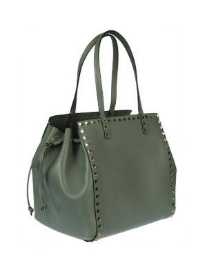Valentino Garavani: totes bags online - Rockstud green leather handbag