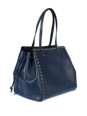 Valentino Garavani: totes bags online - Rockstud peacock leather handbag