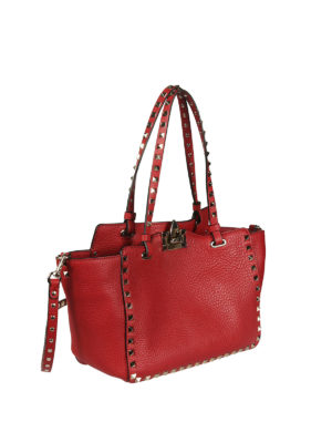 Valentino Garavani: totes bags online - Rockstud small red bag