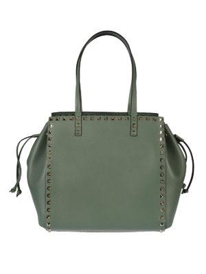 Valentino Garavani: totes bags - Rockstud green leather handbag