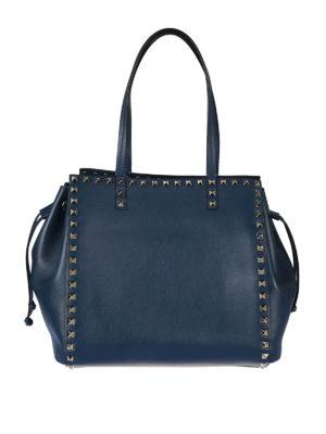 Valentino Garavani: totes bags - Rockstud peacock leather handbag