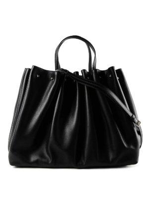 VALENTINO GARAVANI: shopper - Borsa shopping in pelle con borchiette e logo
