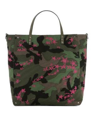 Valentino Garavani: totes bags - Zandra pink star camu shopping bag