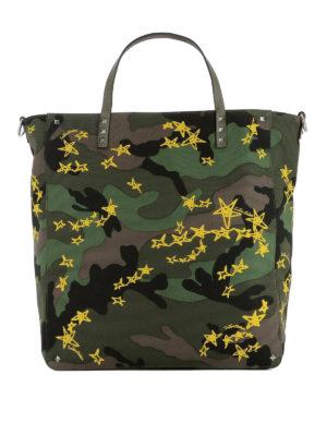 VALENTINO GARAVANI: shopper - Shopper Zandra camouflage e giallo