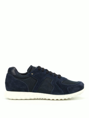 Valentino Garavani: trainers - Blue suede and techno mesh sneakers