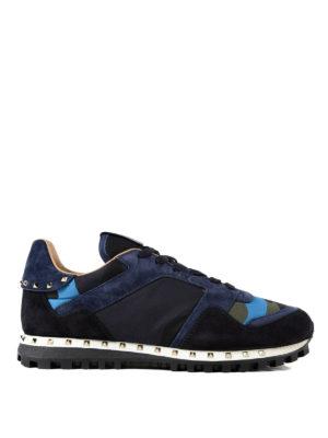 VALENTINO GARAVANI: sneakers - Sneaker blu e nylon camouflage