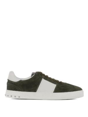 VALENTINO GARAVANI: sneakers - Sneaker Flycrew in camoscio verde
