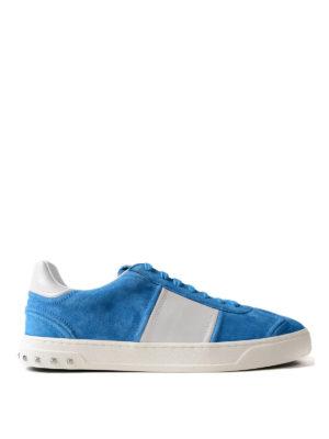 VALENTINO GARAVANI: sneakers - Sneaker Flycrew in camoscio azzurro