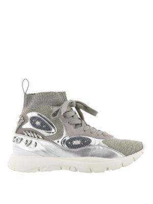 VALENTINO GARAVANI: sneakers - Sneaker in maglia lurex e pelle