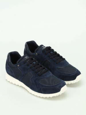 Valentino Garavani: trainers online - Blue suede and techno mesh sneakers