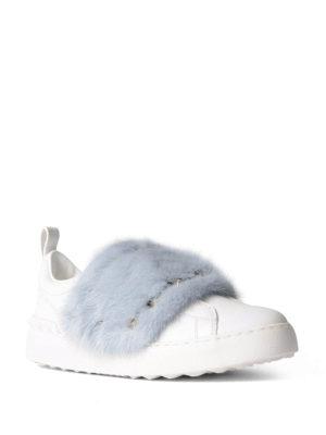 Valentino Garavani: trainers online - Fur detailed leather sneakers