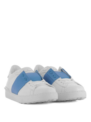 Valentino Garavani: trainers online - Open blue band leather sneakers