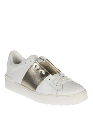 Valentino Garavani: trainers online - Open gold band leather sneakers