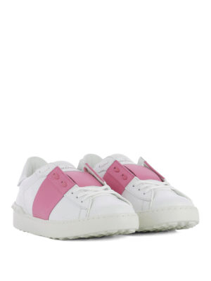 Valentino Garavani: trainers online - Open pink band leather sneakers