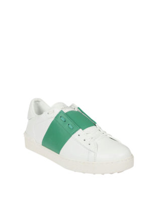 Valentino Garavani: trainers online - Open white and green sneakers