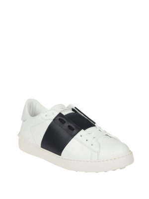 Valentino Garavani: trainers online - Open white and navy blue sneakers