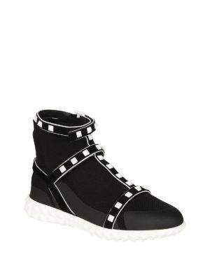 Valentino Garavani: trainers online - Rockstud stretch knitted sneakers