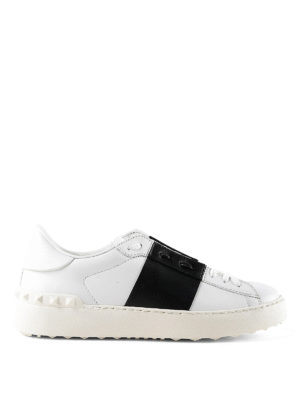 VALENTINO GARAVANI: sneakers - Sneaker Open in pelle con banda nera