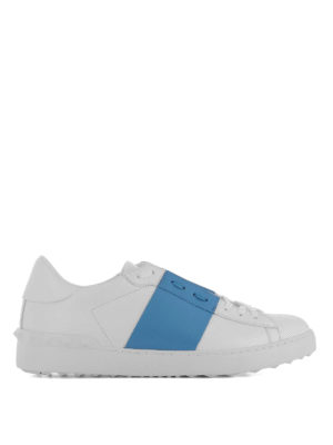 Valentino Garavani: trainers - Open blue band leather sneakers
