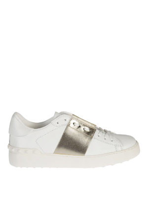 Valentino Garavani: trainers - Open gold band leather sneakers