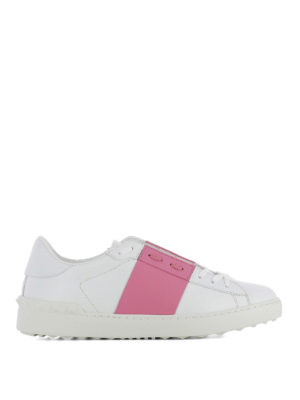 Valentino Garavani: trainers - Open pink band leather sneakers