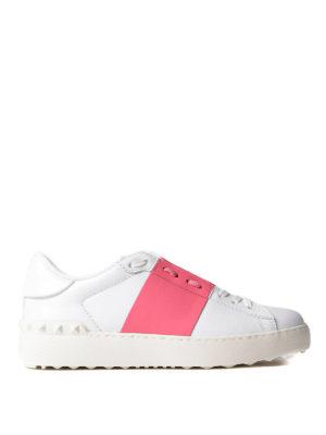 VALENTINO GARAVANI: sneakers - Sneaker Open con banda rosa