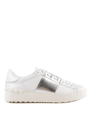 VALENTINO GARAVANI: sneakers - Sneaker Open in pelle con banda argentata