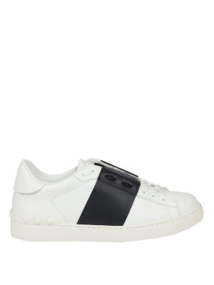 Valentino Garavani: trainers - Open white and navy blue sneakers