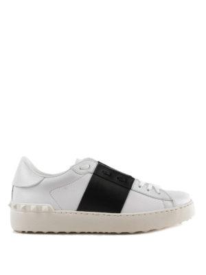 VALENTINO GARAVANI: sneakers - Sneaker Open bianche con banda nera
