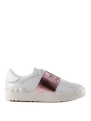 VALENTINO GARAVANI: sneakers - Sneaker Open bianche con banda rosa lamé