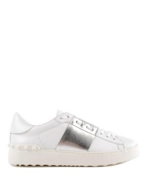 VALENTINO GARAVANI: sneakers - Sneaker Open bianche con banda argentata