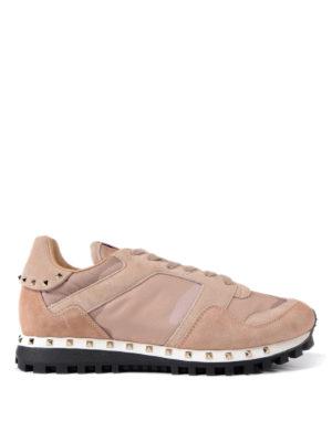 VALENTINO GARAVANI: sneakers - Sneaker in suede rosa e nylon