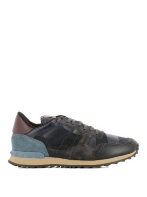 Valentino Garavani: trainers - Rockrunner blue camu sneakers