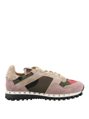 VALENTINO GARAVANI: sneakers - Sneaker in nylon camouflage e suede