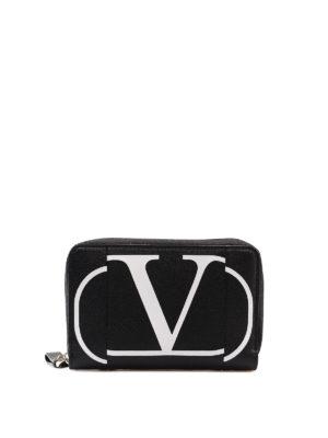 e0d134f5c8 VALENTINO GARAVANI: portafogli - Portafoglio in pelle nera con logo
