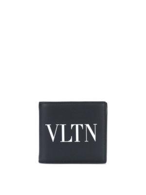 5624c9cee0 VALENTINO GARAVANI: portafogli - Portafoglio in pelle nera con logo  lettering