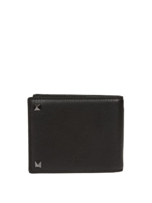 Valentino Garavani: wallets & purses online - Rockstud black bifold wallet