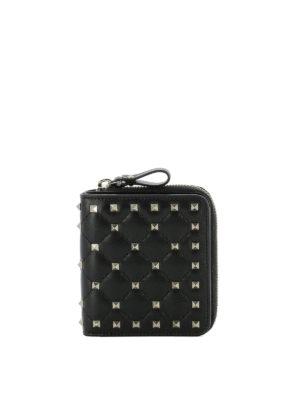 Valentino Garavani: wallets & purses - Rockstud zip around compact wallet