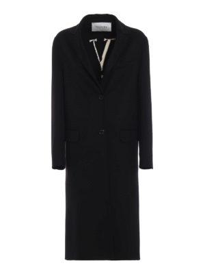 VALENTINO: cappotti al ginocchio - Cappotto in Compact Drap con intarsio VLTN