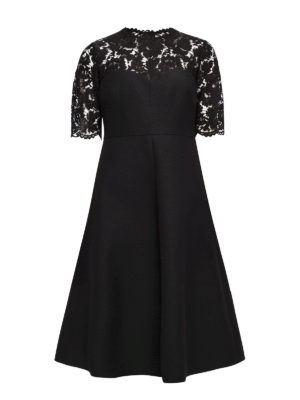 Valentino: knee length dresses - Crepe and Heavy Lace flared dress