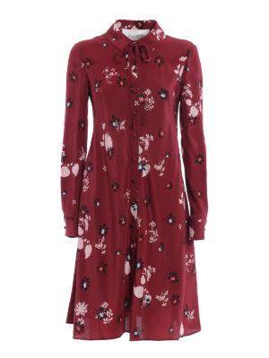 Valentino: knee length dresses - Flowers Fall printed silk dress