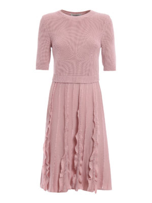 Valentino: knee length dresses - Knitted wool flared dress