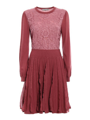 Valentino: knee length dresses - Lace panelled knitted wool dress