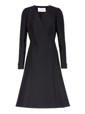 Valentino: knee length dresses - Long sleeve crepe wrap A-line dress