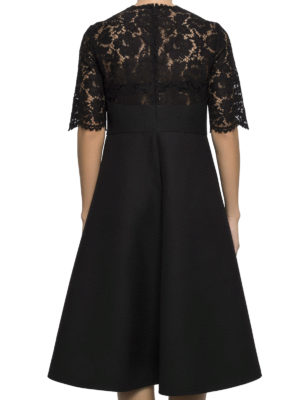 Valentino: knee length dresses online - Crepe and Heavy Lace flared dress
