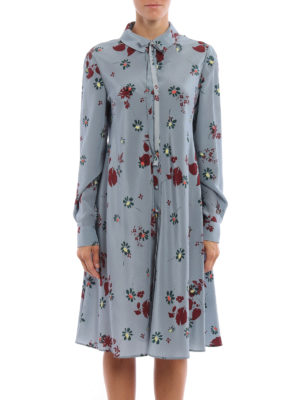 Valentino: knee length dresses online - Flowers Fall printed silk dress