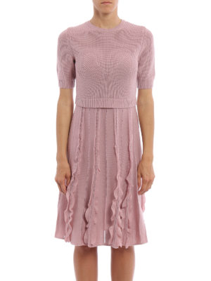 Valentino: knee length dresses online - Knitted wool flared dress