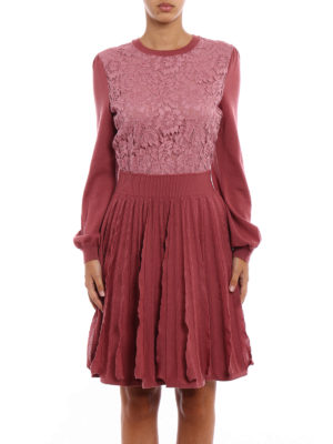 Valentino: knee length dresses online - Lace panelled knitted wool dress