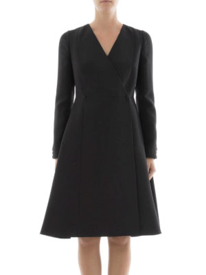 Valentino: knee length dresses online - Long sleeve crepe wrap A-line dress