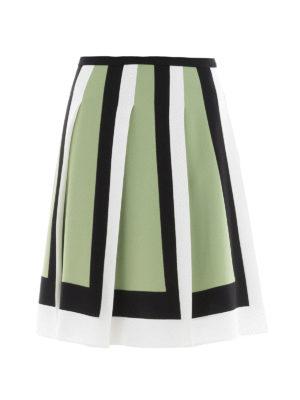Valentino: Knee length skirts & Midi - Colour block crepe pleated skirt